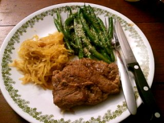 lamb, green beans, spaghetti squash