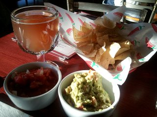 Hitachino Nest Red Rice Ale; chips, salsa, and guacamole
